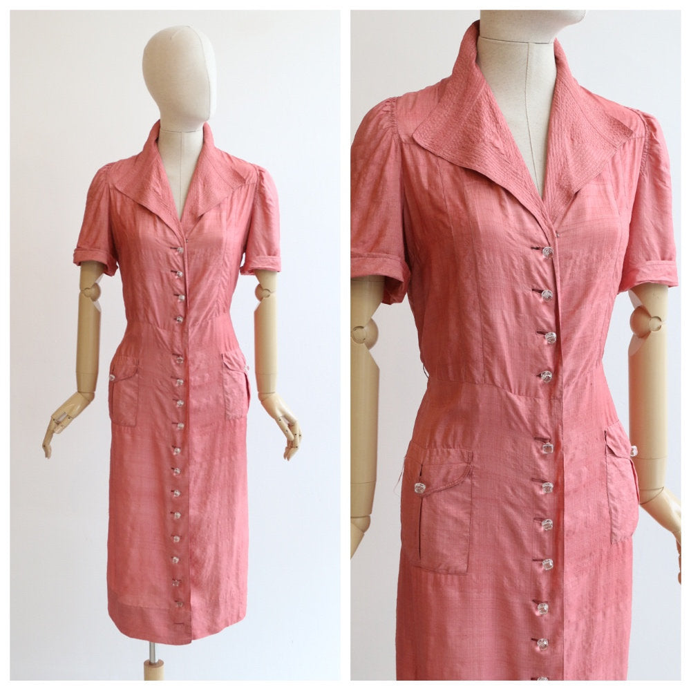 Vintage 1940's dress vintage 1940's blush pink silk dress original 1940s duping silk shirt dress glass buttons original 1940's silk dress 14