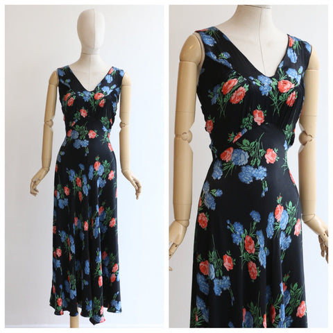 Vintage 1930 dress vintage 1930 silk floral bias cut dress 1930 black satin floral dress 1930 cornflower blue coral floral bias dress UK 10