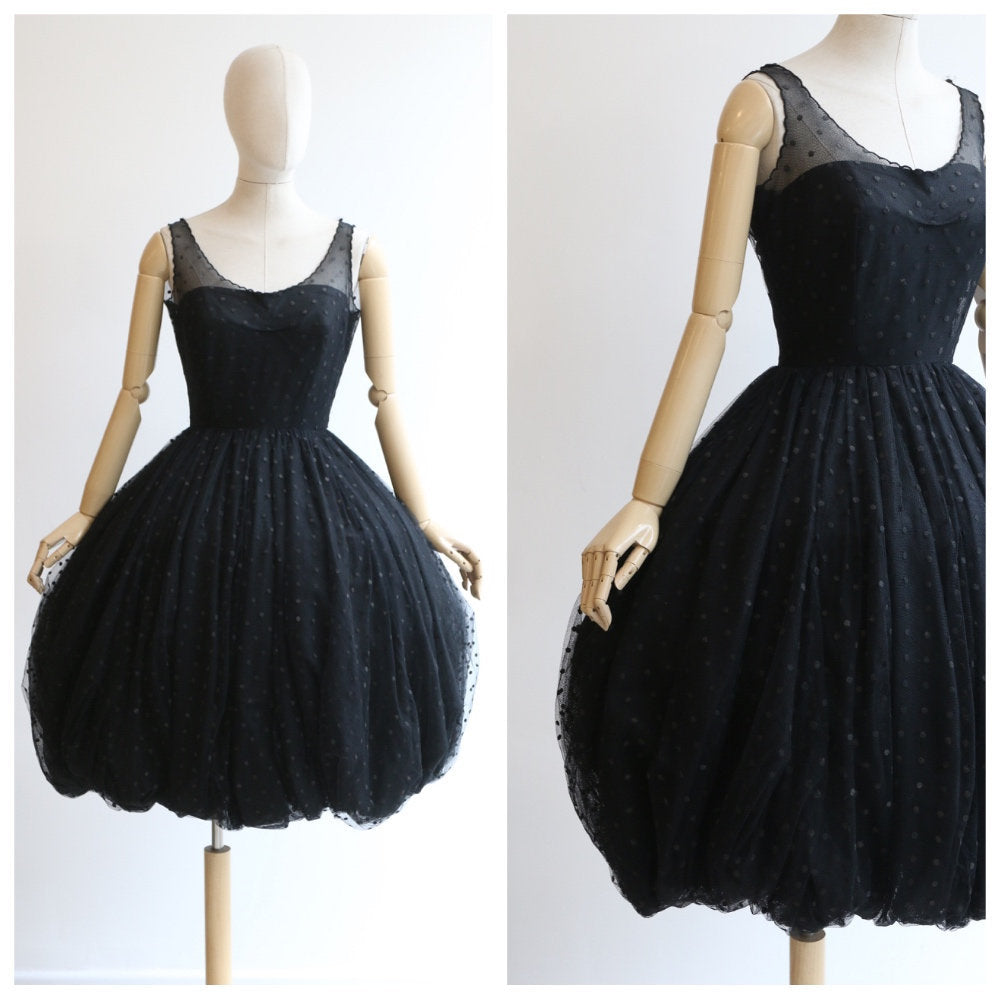 Vintage 1950's Dress vintage 1950's puffball tulle dress vintage 1950's crinoline dress 1950's new look black polkadot dress full skirt UK 8