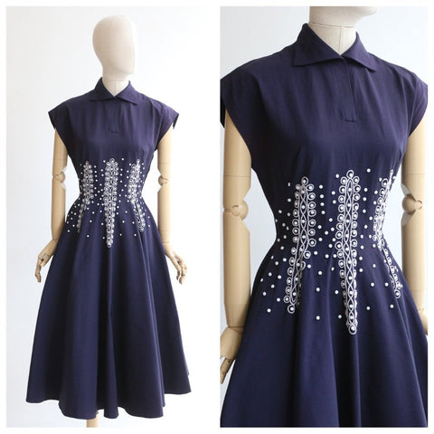 Vintage 1950's dress vintage 1950's Susan Small dress original 1950 susan small navy blue circle dress original 1950's beaded dress UK 8-10