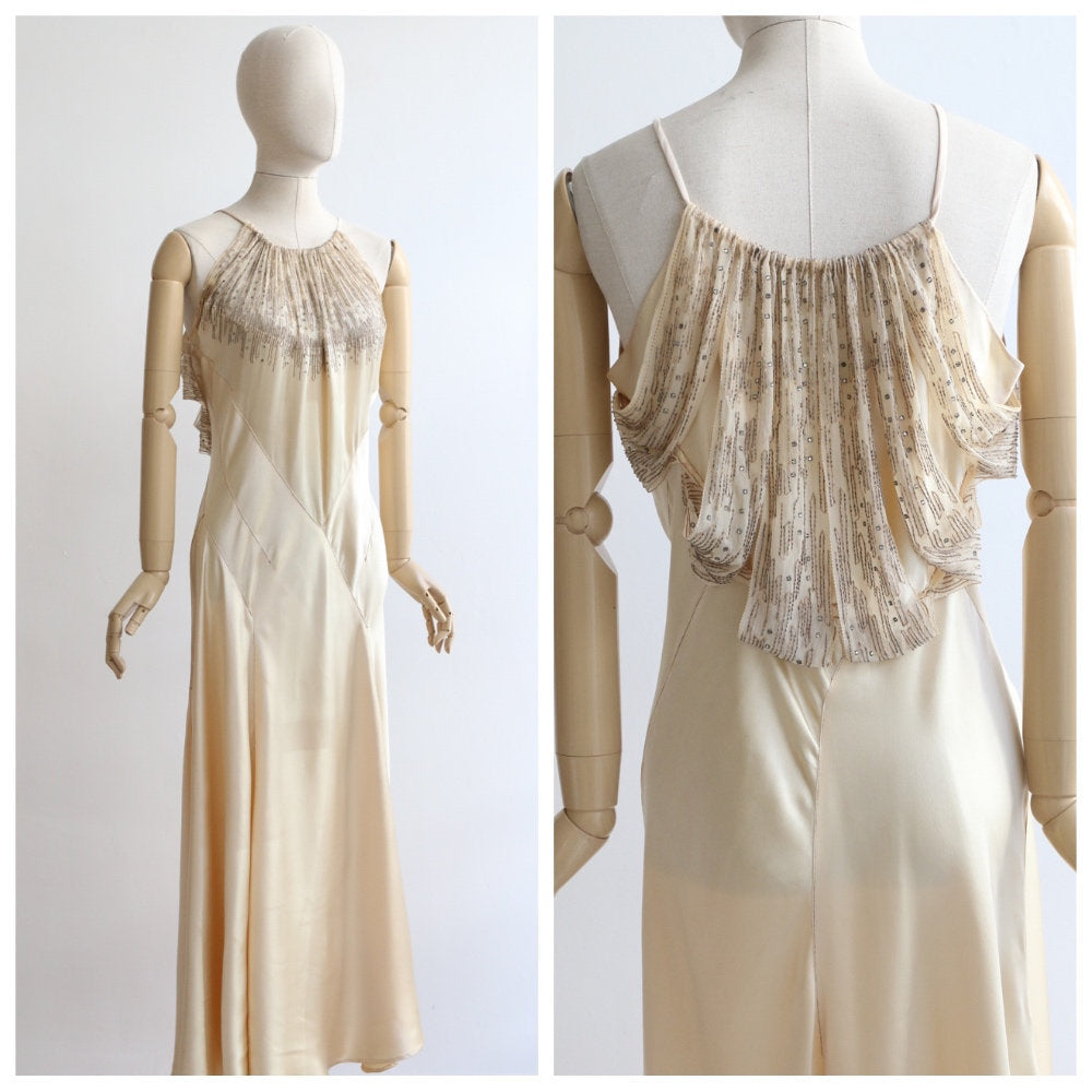 Vintage 1930's silk satin evening gown original 1930's silk chiffon rhinestone bias cut couture dress 1930's satin couture dress rare UK 10