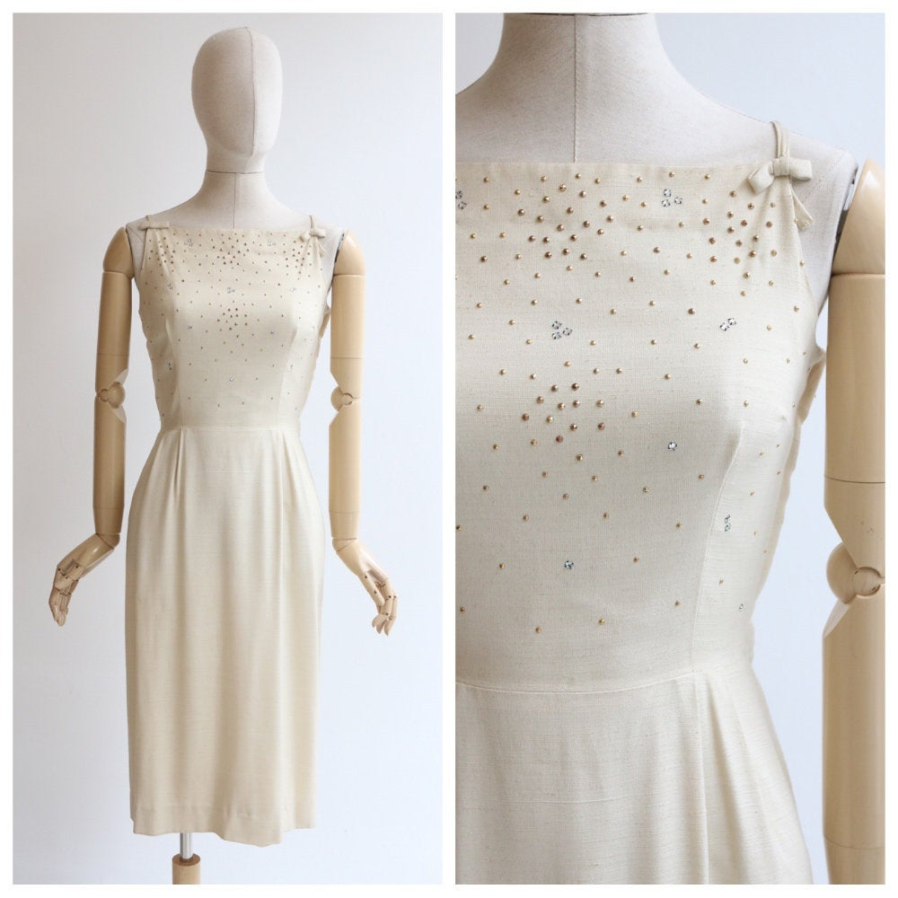 Vintage 1950's dress vintage 150's cream wiggle dress original 1950's cream silk rhinestone and gold stud embellished wiggle dress UK 8-10