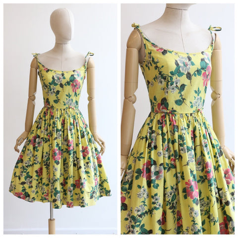Vintage 1950's floral dress 1950's yellow cotton rose print dress original 1950's dress 1950's summer dress fifties new look dress UK 8 US 6