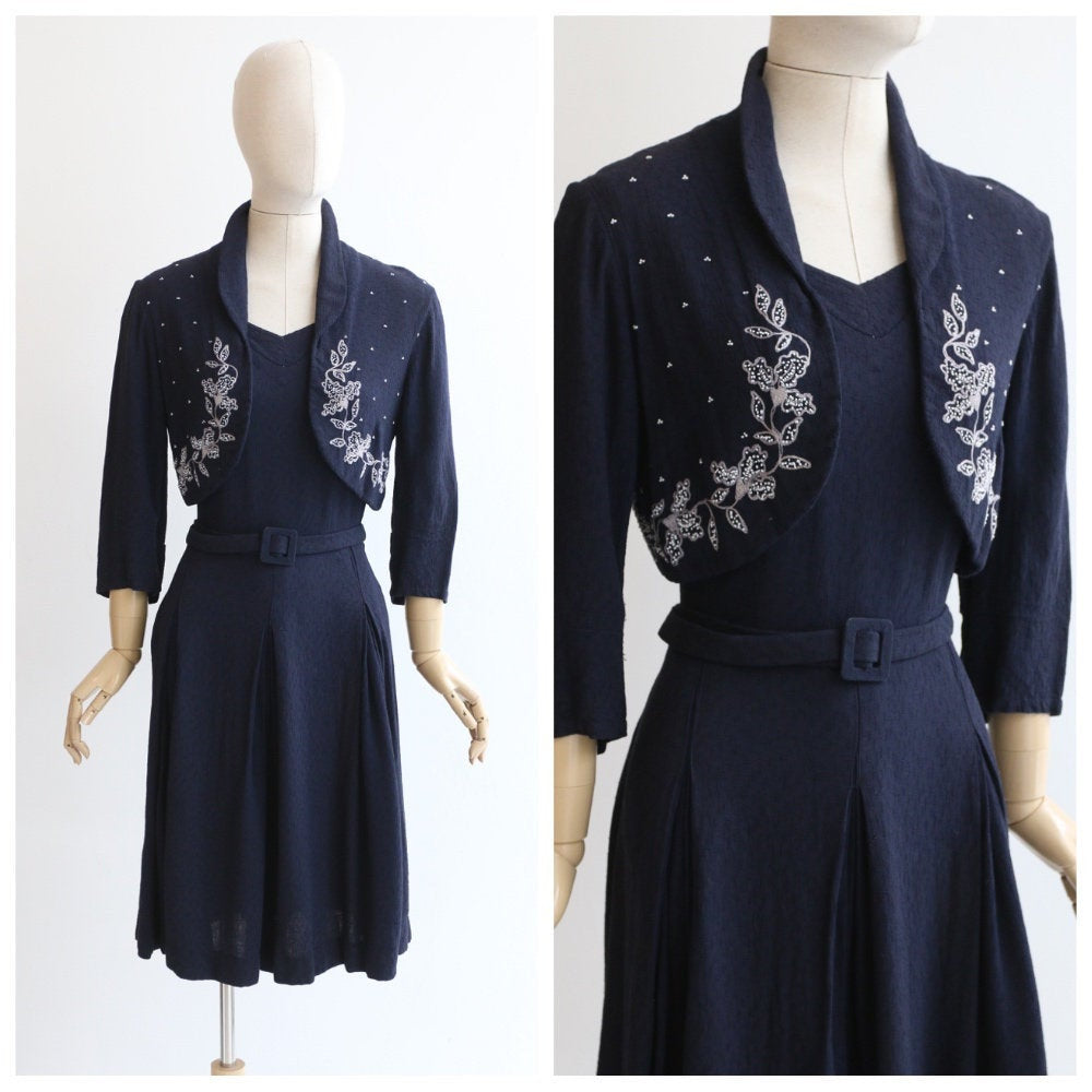 Vintage 1940's dress vintage 1940's navy blue dress 1940's navy blue beaded floral dress 1940's mock jacket forties fashion dress UK 14