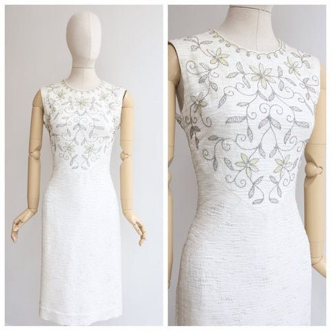Vintage 1960's dress vintage 1960's silk wiggle dress 1960's ivory beaded dress 1960's beaded dress original sixties fashion 1960s UK 8-10