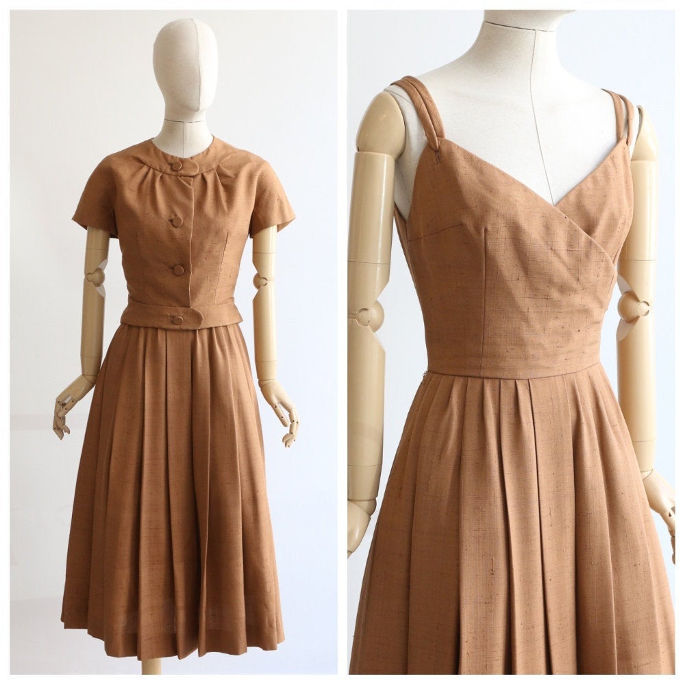 Vintage 1950's Christian Dior Dress Vintage Christian Dior Dress original caramel raw silk dress and jacket 1950s dior dress jacket UK 8-10
