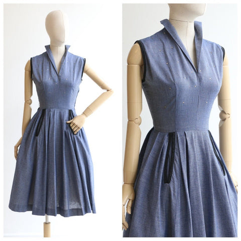 Vintage 1950's dress vintage 1950's blue rhinestone dress 1950s blue cotton rhinestone dress original fifties dress 1950's swing dress UK 10