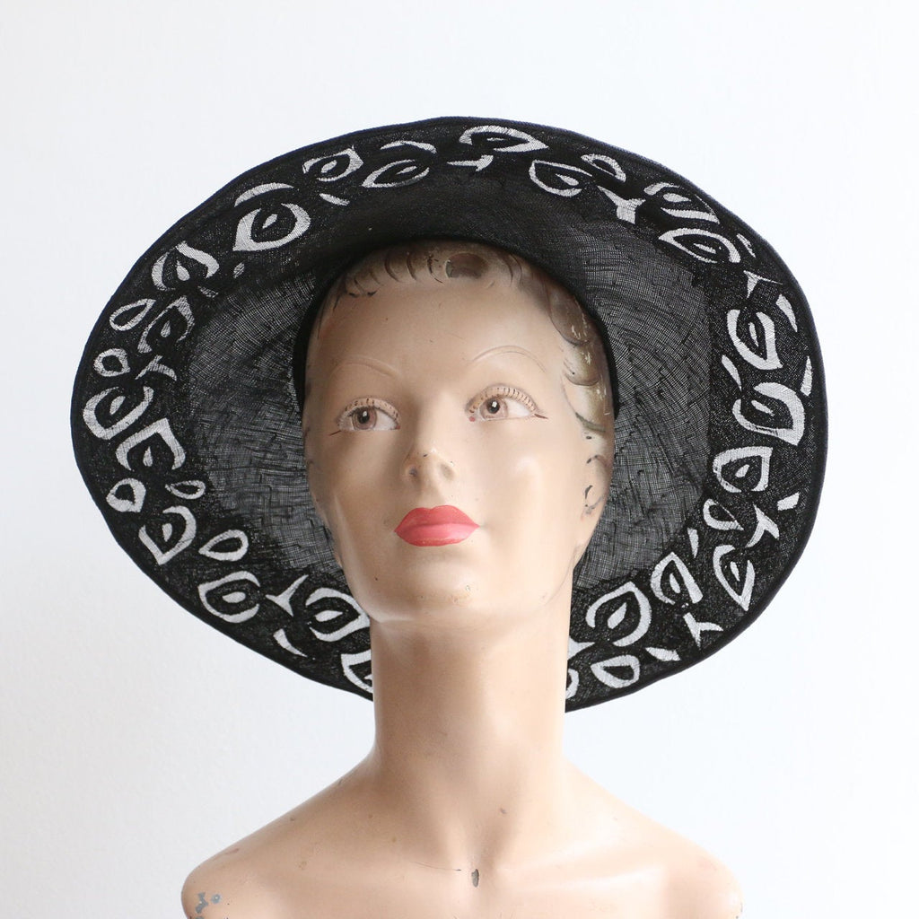 Vintage 1930's hat vintage 1930's cut out hat original 1930 black wide brim straw hat original 1930 black straw hat 1930s wide brim sun hat