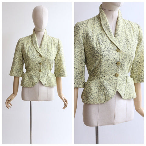 Vintage 1950's jacket vintage 1950's yellow fitted jacket original 1950's tailored jacket fifties tailored jacket yellow fitted jacket UK 10