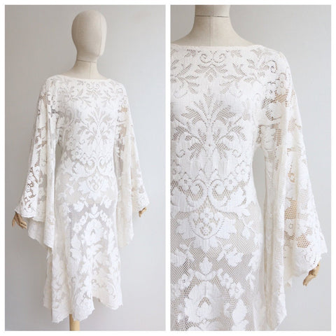 Vintage 1950's White Lace dress vintage 1970's white crochet lace bell sleeve dress original seventies angel sleeve floral lace dress 70s UK