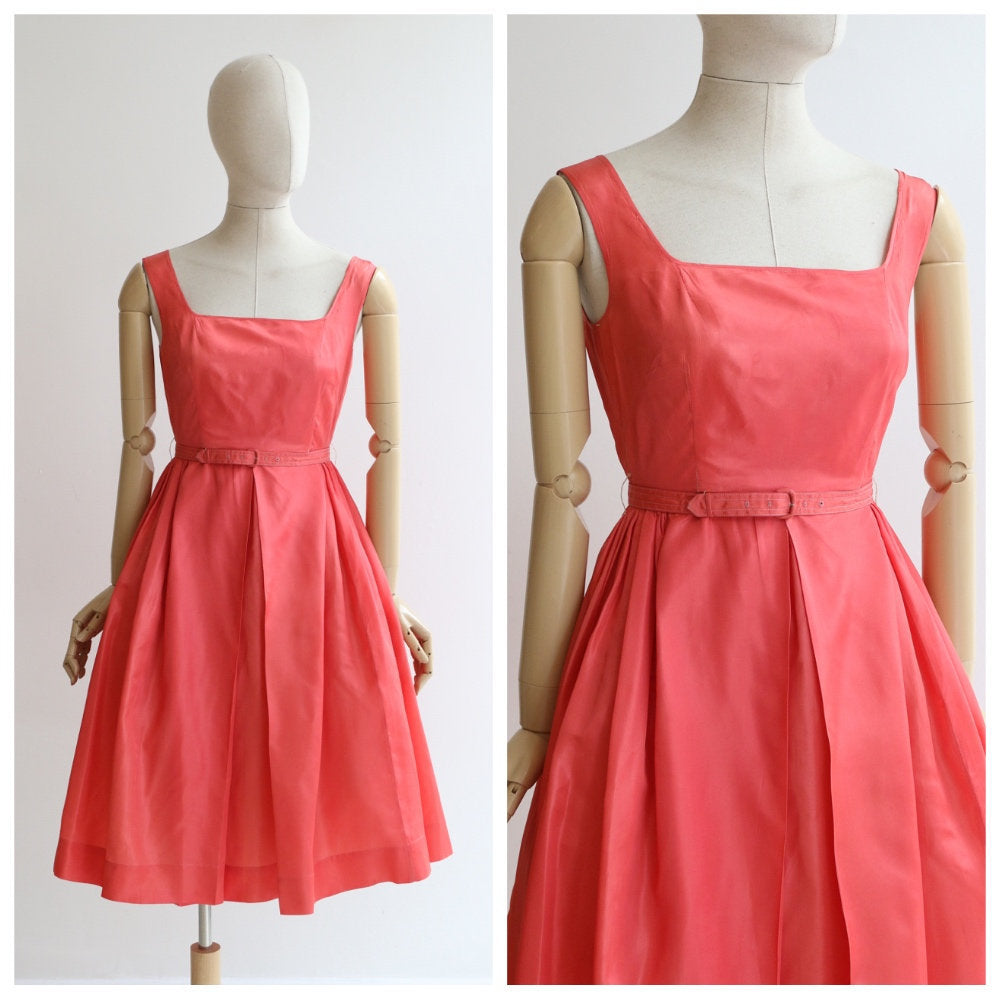 Vintage 1950's dress vintage 1950's coral dress 1950's coral pink taffeta dress original 1950's cocktail dress coral taffeta dress UK 6-8