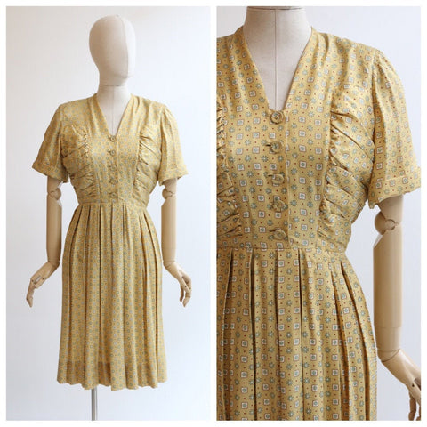 Vintage 1940's dress vintage 1940's silk dress original forties silk dress yellow silk pleated dress original 1940s yellow day dress UK 12