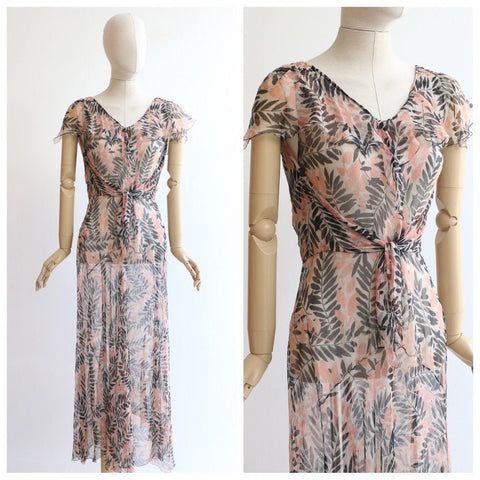 Vintage 1930's Dress vintage 1930's silk chiffon botanical print dress original 1930 bias cut silk chiffon sheer floral dress pink UK 10-12