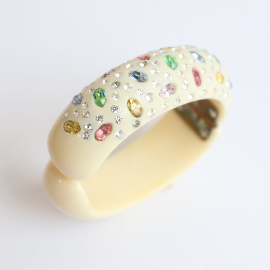 vintage 1950's bangle vintage 1950's clamper bangle original 1950's rhinestone bangle 1950's rhinestone bracelet pastel colour rhinestone