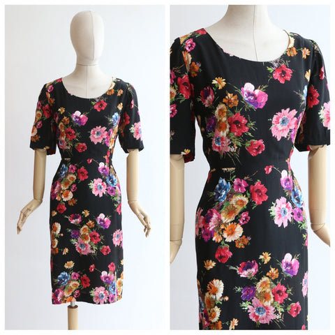 Vintage 1940's silk floral dress original 1940's floral dress 1940's late 1940's dress screen printed floral dress black floral dress UK 14