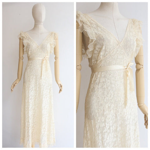 Vintage 1930's dress vintage 1930's lace dress original 1930s cream silk and lace dress thirties fashion 1930s ruffle dress UK 10