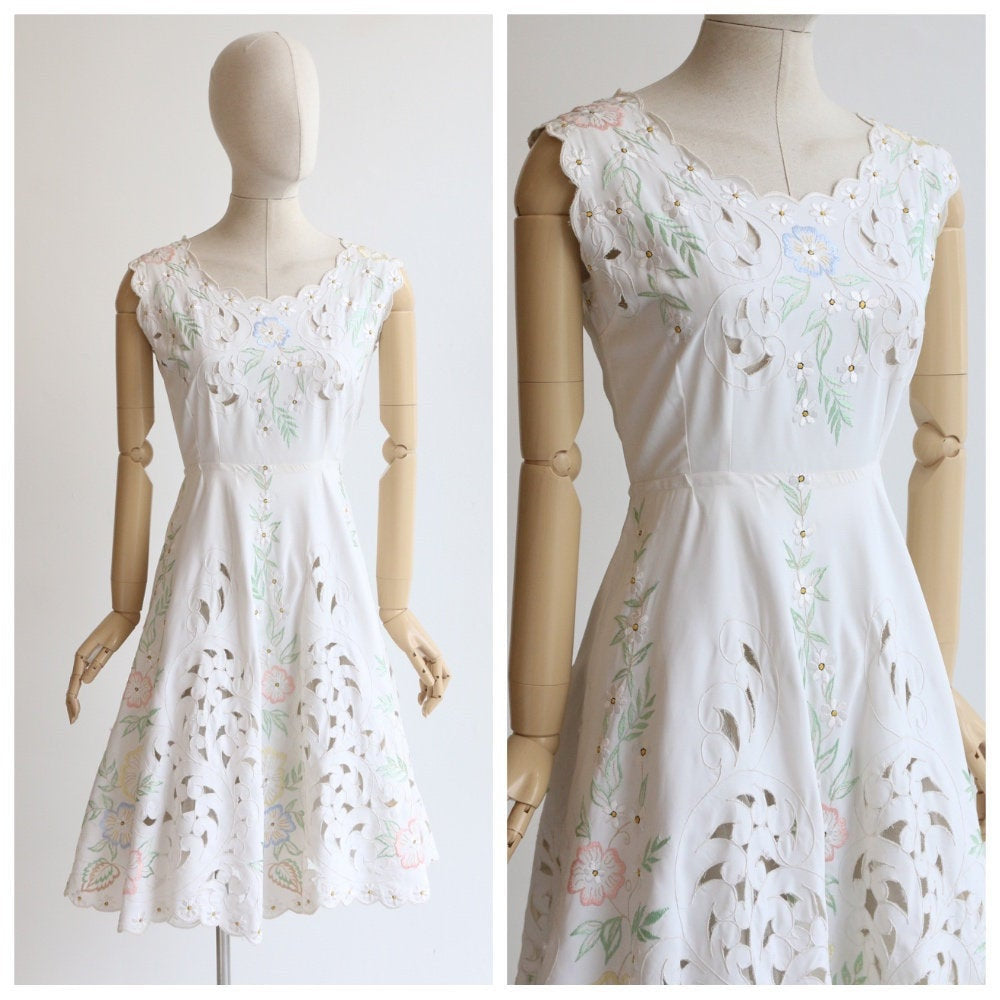 Vintage 1950's dress vintage 950's embroidered dress original 1950's cut out embroidery floral dress fifties embroidery floral dress UK 10