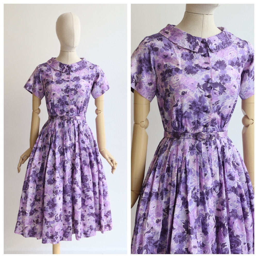 Vintage 1950's dress vintage 1950's purple floral dress 1950's floral dress original 1950 shirtwaister dress fifties original day dress UK 6