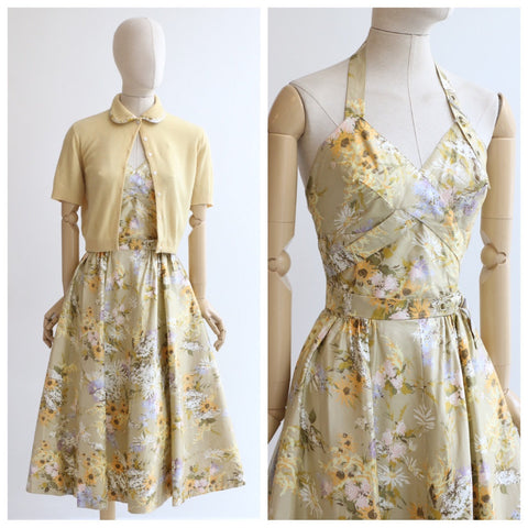 Vintage 1950's dress and matching cardigan 1950's floral polished cotton halter neck dress matching cardigan 1950s dress set fifties UK 8-10