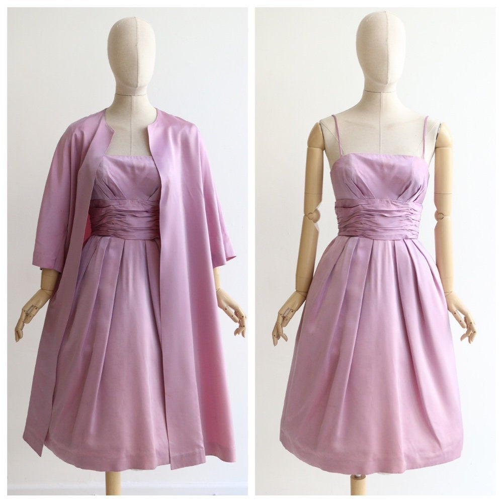 Vintage 1950's Dres and coat set vintage 1950's lilac satin dress and matching coat 1950's lilac sat set original 1950's satin dress UK 8