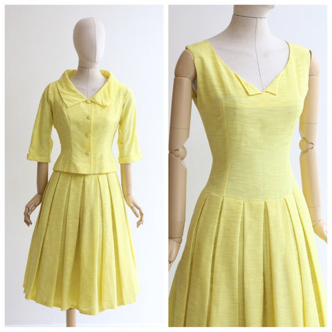 Vintage 1950's dress and jacket vintage 1950's yellow dress 1950's dress and jacket set original 1950's day dress 1950's yellow dress UK 10