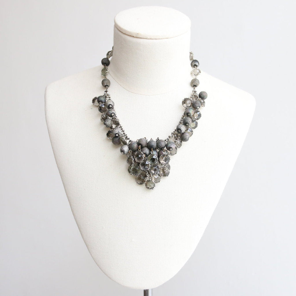Vintage 1950's necklace vintage 1950 rhinestone beaded cluster necklace original fifties grey bead necklace rhinestone midcentury jewellery