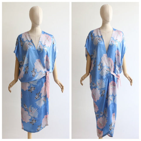 Vintage 1930's Robe vintage 1930's blue floral dressing gown original 1930s rayon robe 1930's floral kimono robe original art deco gown