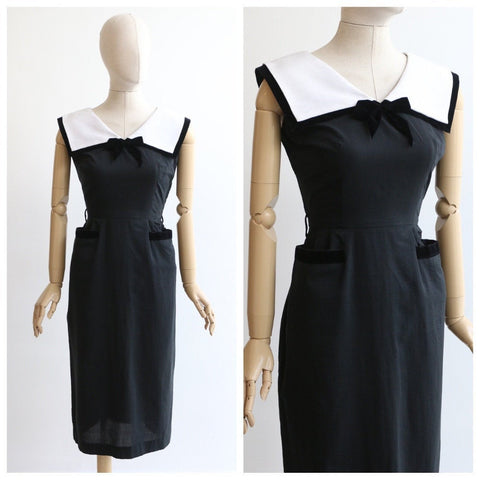 Vintage 1950's dress vintage 1950's black wiggle dress original 1950's wide collar sailor dress 1950's black and white wiggle dress UK 10