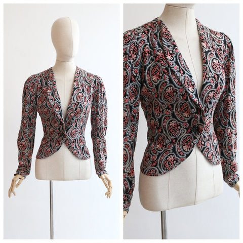 Vintage 1930's Jacket vintage 1930's embroidered jacket original 1930's paisley embroidered rayon jacket 1930s embroidery 30's  UK 10-12