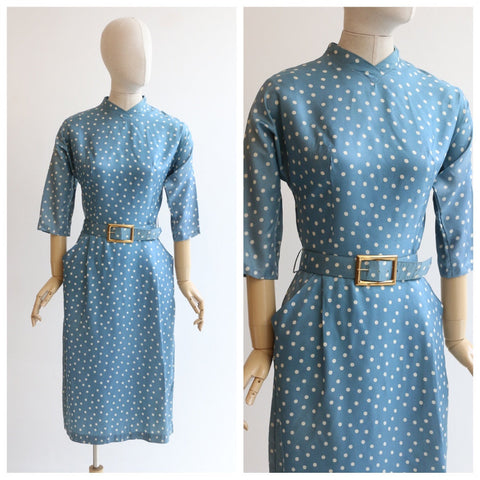 Vintage 1950's dress vintage 1950's polkadot dress 1950's polkadot wiggle dress original 1950's blue white polkadot dress fifties UK 10 US 6