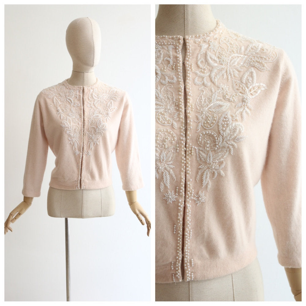 Vintage 1950's cardigan vintage 1950's pale pink cashmere cardigan 1950 cashmere cardigan fifties beaded cardigan silk lined pink UK 12 US 8