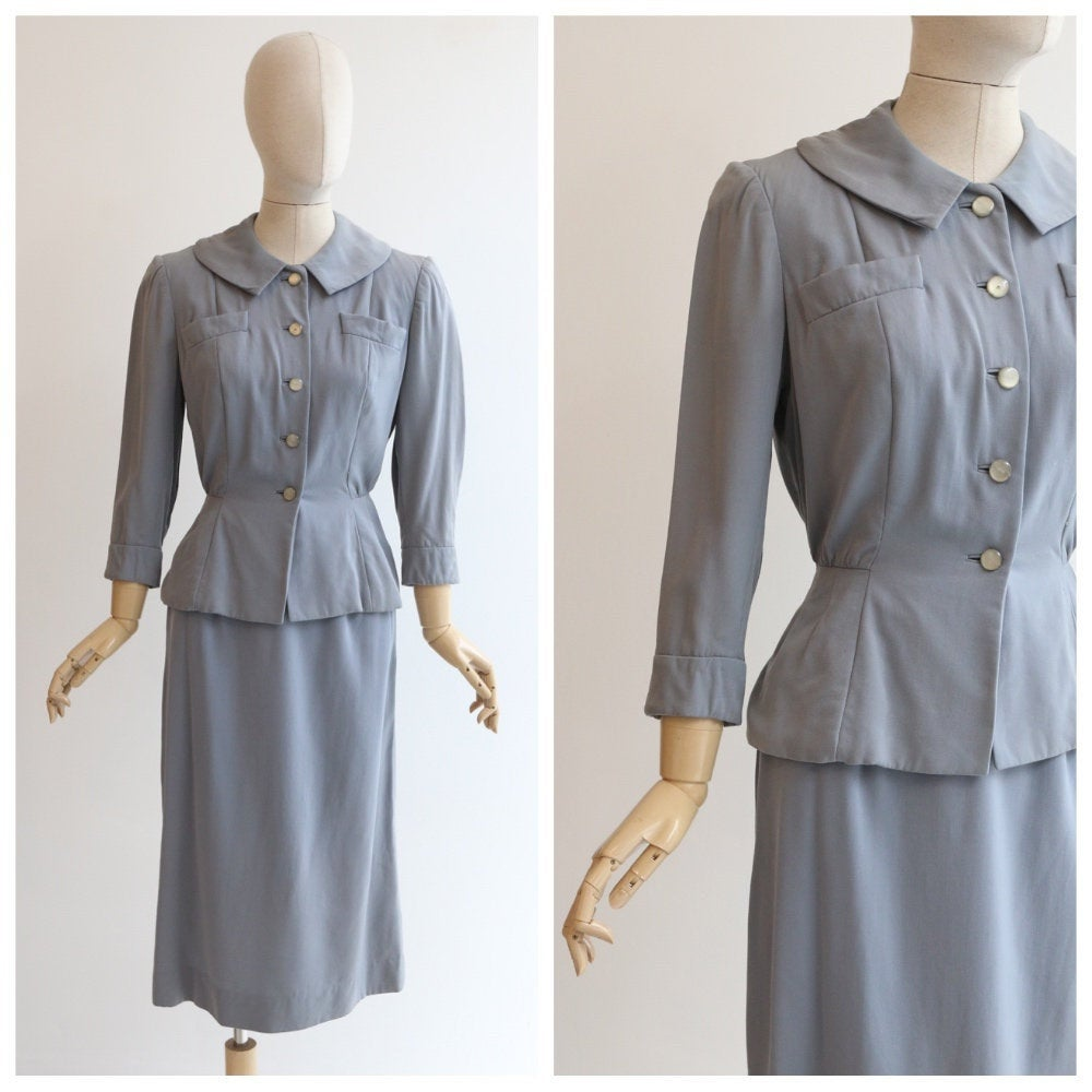 Vintage 1940's sit vintage 1940's grey suit 1940's tailored grey suit original forties skirt suit 1940s fashion 1940's day wear UK 8-10