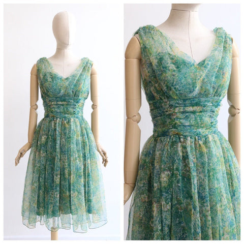 Vintage 1950's dress vintage 1950's green floral dress original 1950's green abstract chiffon dress 195s floral chiffon green dress UK 8