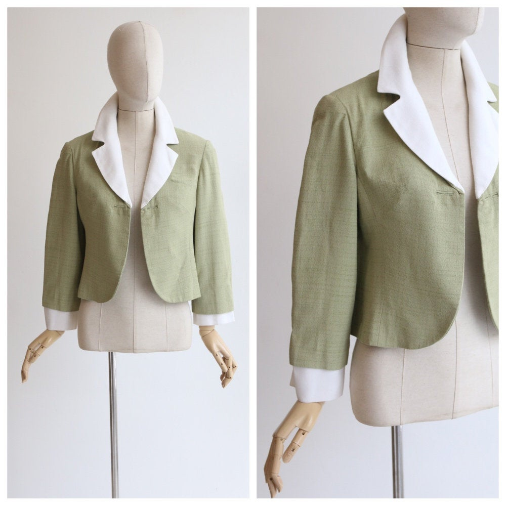 Vintage 1950's jacket 1950's pistachio green linen jacket original 1950's green box jacket 1950's green white collared jacket tailored UK 12