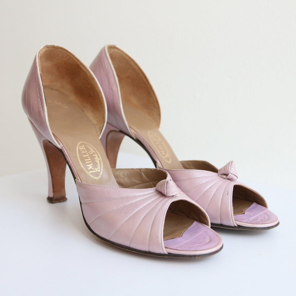 Vintage 1940's Lilac Leather Peep toe heels vintage 1940's lilac heels original 1940's lilac stilettos 1940's L Miller Heels shoes UK 5