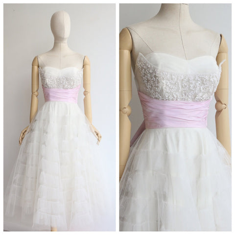 Vintage 1950's dress vintage 1950's sweetheart neckline tulle dress 1950's prom dress original 1950's cocktail dress white tulle lilac UK 8