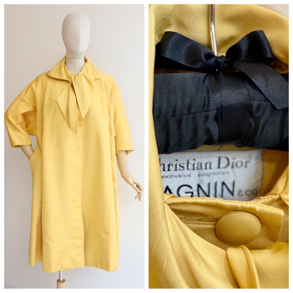 Vintage 1950's Christian Dior Coat vintage 1950's Yellow Silk Christian Dior Swing coat fifties Christian Dior Coat 1950s Duster coat UK 10