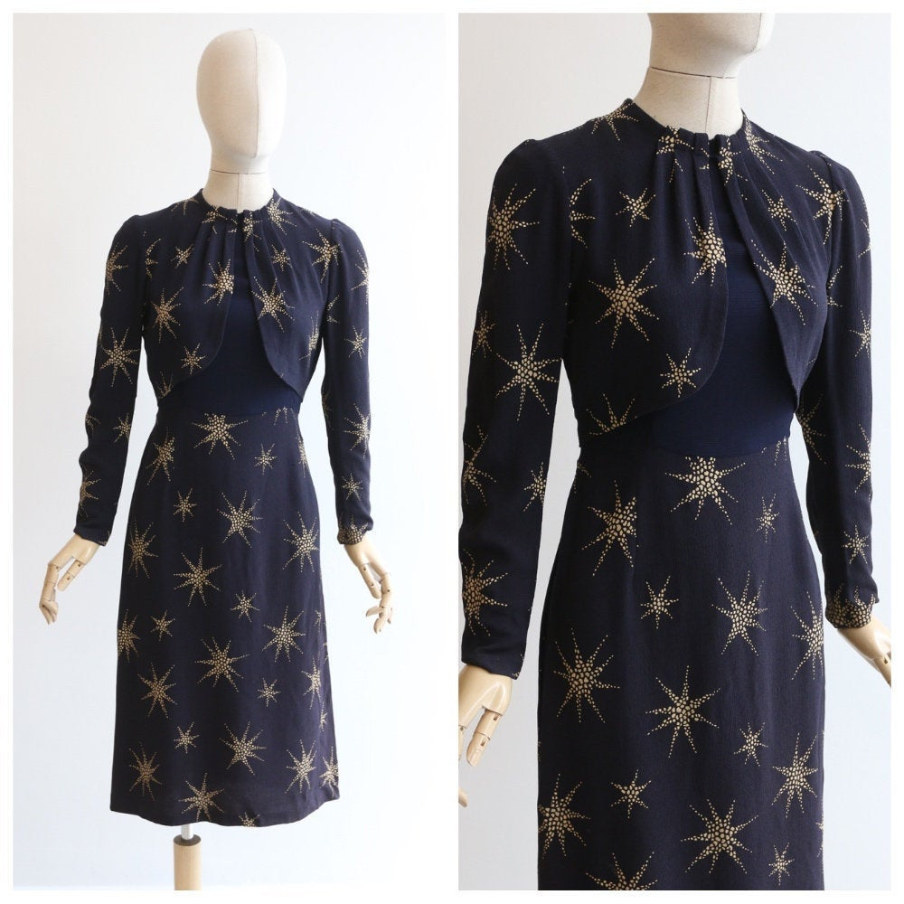 Vintage 1940's Crepe silk dress vintage 1940's navy blue cream star print dress original 1930s star print dress night sky navy dress UK 8-10