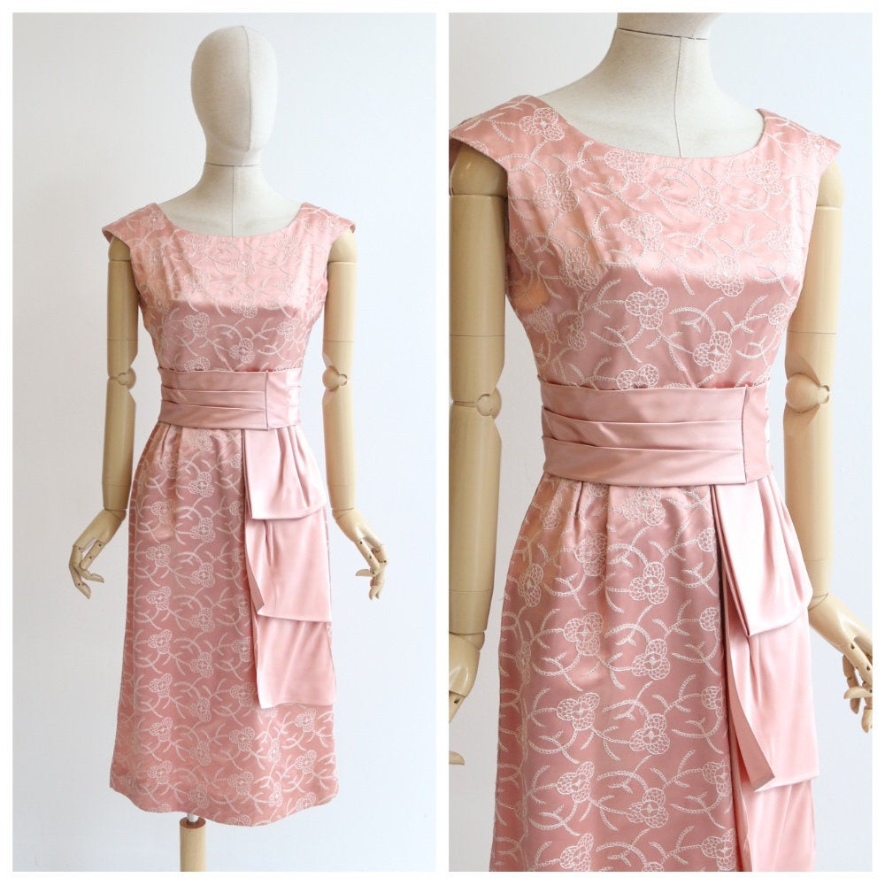 Vintage 1950's pink satin dress vintage 1950 pink embroidered satin dress 1950 floral embroidered cocktail dress original fifties dress UK 8