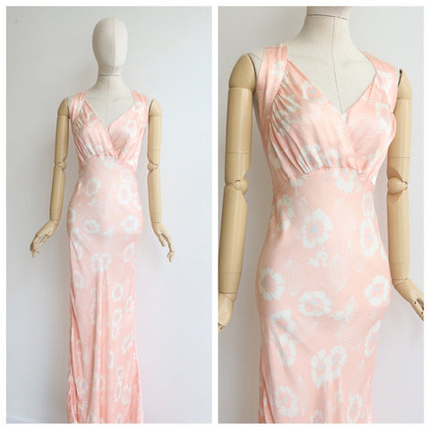 Vintage 1930's dress original 1930's floral dress 1930's bias cut pale pink blue floral dress 1930's bias cut dress  fashion UK 8-10 US 4-6