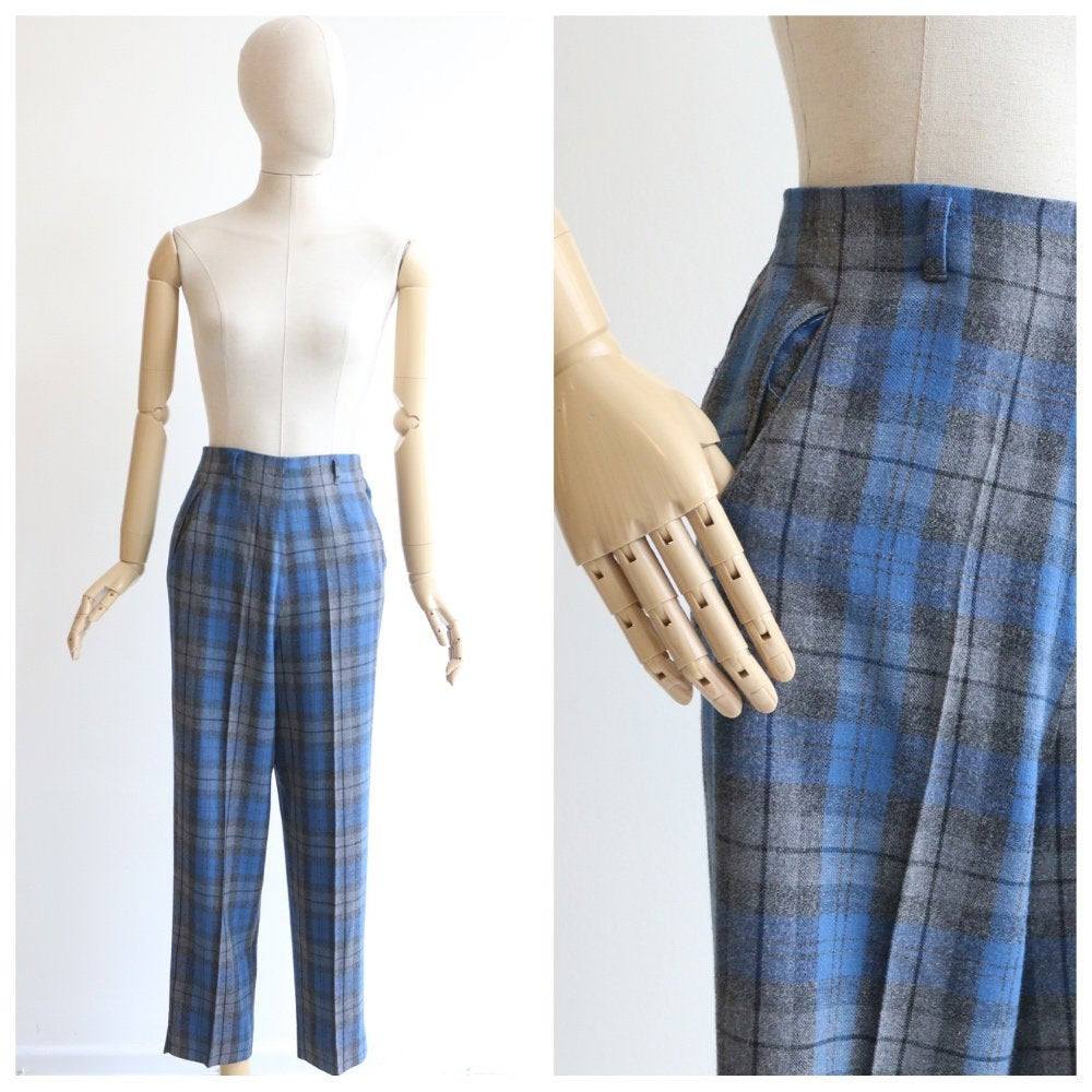 Vintage 1950's Plaid trousers vintage 1950's blue and grey plaid trousers vintage 1950's plaid wool trousers wool cigarette pants UK 8 US 4