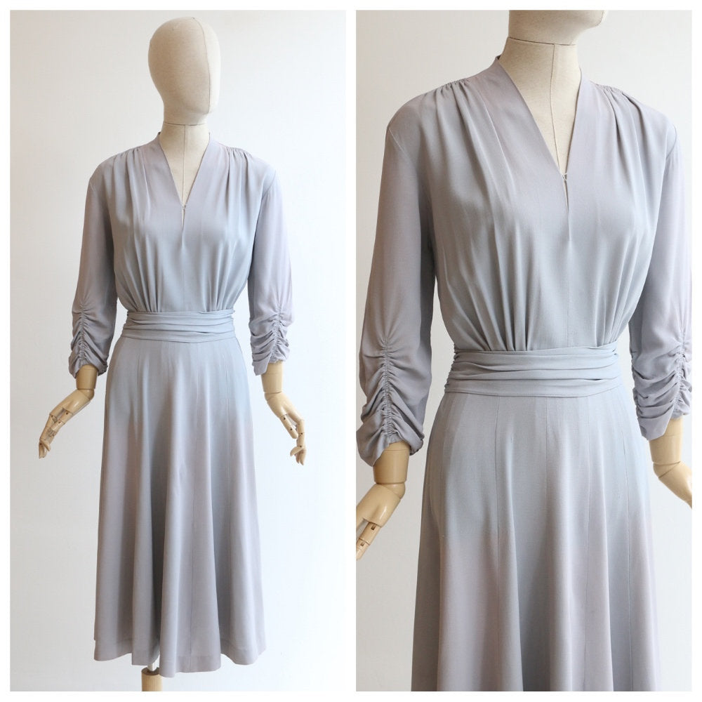 Vintage 1940's dress vintage 1940's dove grey crepe silk dress 1940 gathered crepe dress 1940's grey silk dress original forties UK 14 US 10