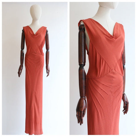 Vintage 1930's dress vintage 1930's coral crepe silk dress 1930's crepe silk pleated dress thirties fashion 1930s bias dress UK 10 US 6