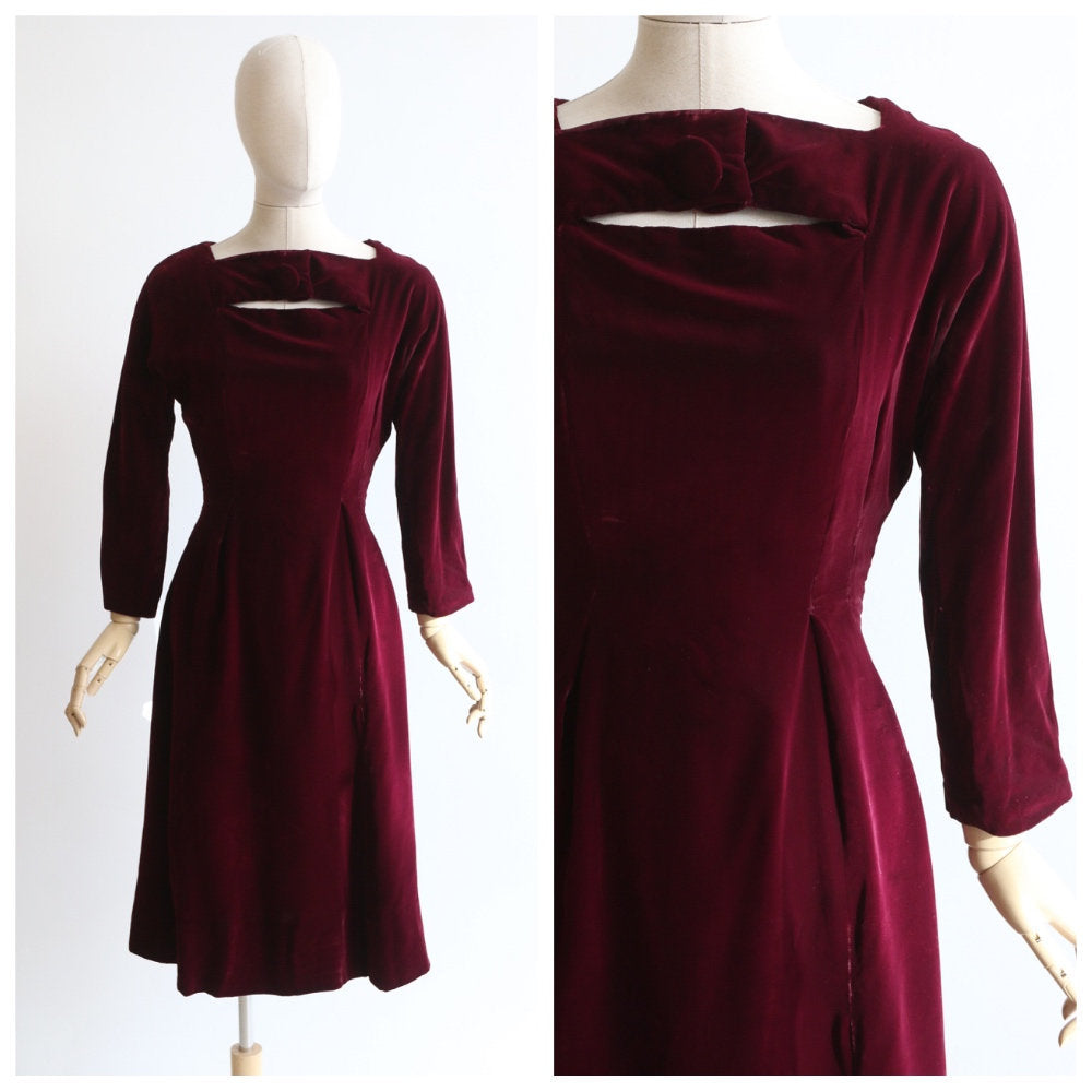 Vintage 1950's velvet dress original 1950's plum velvet dress 1950's red wine velvet dress original 1950s red wiggle dress fifties UK 8 US 4