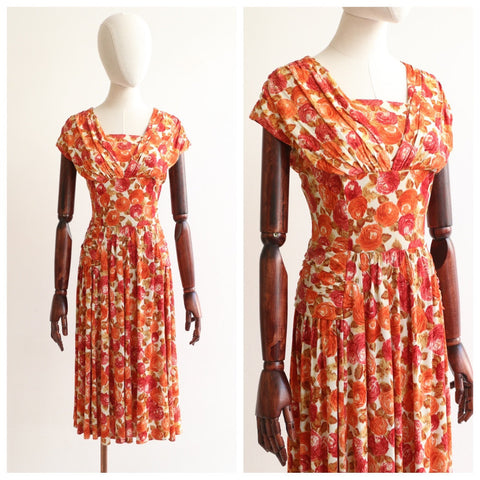 Vintage 1950's dress vintage 1950's silk jersey floral dress 1950's rose print dress 1950's silk autumnal floral dress fifties UK 14 US 10