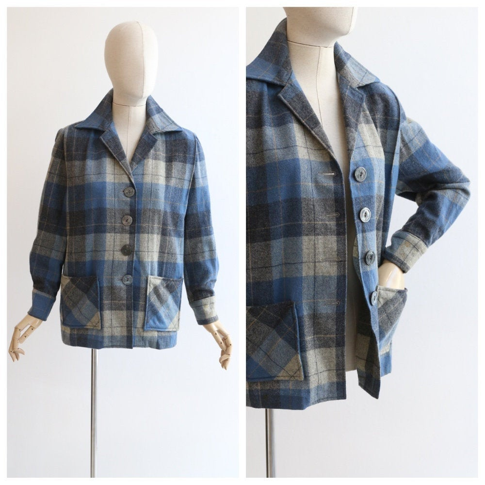 Vintage 1950's jacket vintage 1950's Sears jacket vintage 1950's blue grey plaid jacket original 1950's plaid jacket UK 12 US 8