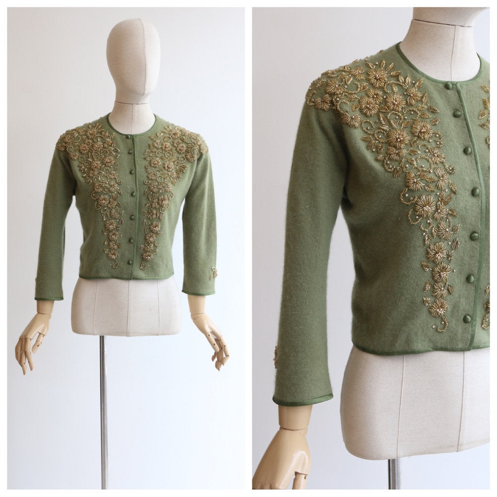 Vintage 1950's cardigan vintage 1950's green cashmere cardigan 1950's angora green cardigan gold beaded cardigan fifties UK 10-12 US 6-8