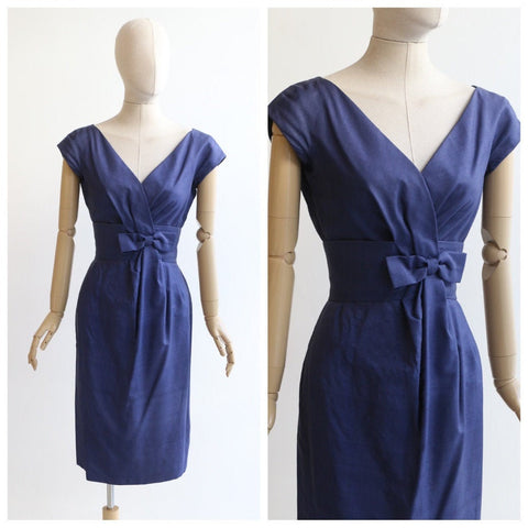 Vintage 1950's silk dress original 1950's navy blue silk dress original 1950's wiggle dress 1950s blue silk wiggle dress fifties UK 6 US 2