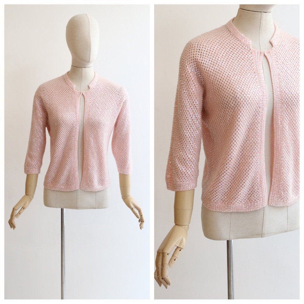 Vintage 1950's cardigan vintage 1950's pink sequin cardigan vintage 1950's beaded cardigan 1950's sequin cardigan pink knit UK 12 US 8