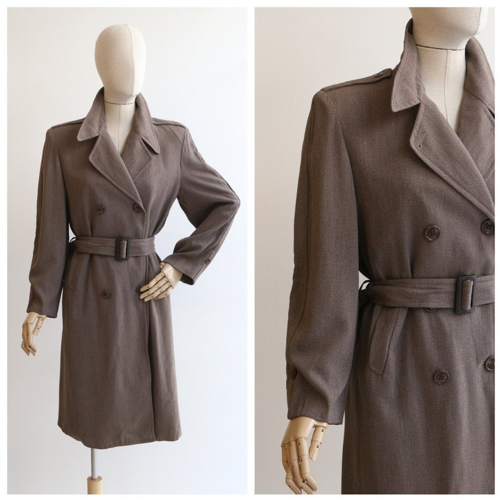 Vintage 1940's trench coat vintage 1940's brown double breasted trench coat 1940 wool coat 1940's winter trench original 1940s coat UK 12-14